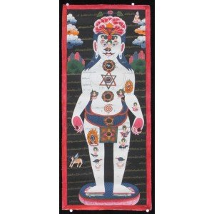 Tibetischer Medizin Yoga Thangka Nr. 1 32 x 74cm