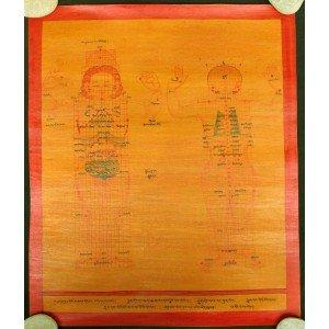 Tibetischer Medizin Yoga Thangka smoked Nr. 12  39cm x 47cm