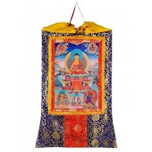 Thangka Shakyamuni Buddha Gautama Kunstdruck 2 mit Brokatrahmen 105 cm x 63 cm