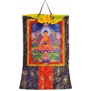 Thangka Shakyamuni Buddha Gautama Kunstdruck mit Brokatrahmen 105 cm x 63 cm