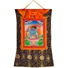 Thangka Mahakala handgemalt auf Leinwand gerahmt mit Tibeter-Brokat 58 x 85 cm